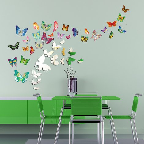 Walplus Wall Decals 14 Mirror Butterflies & Walplus Butterflies