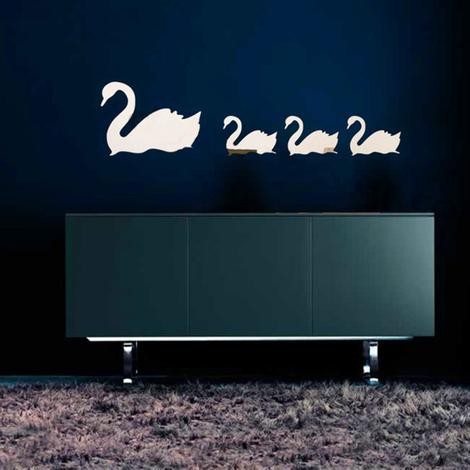 Walplus Wall Decals 4pcs/lot Romantic Simple Cute Swans Mirror
