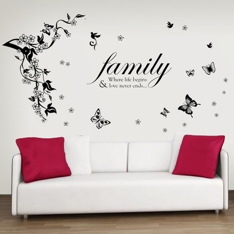 Walplus Wall Decals Butterflies Vine & Family Quotes
