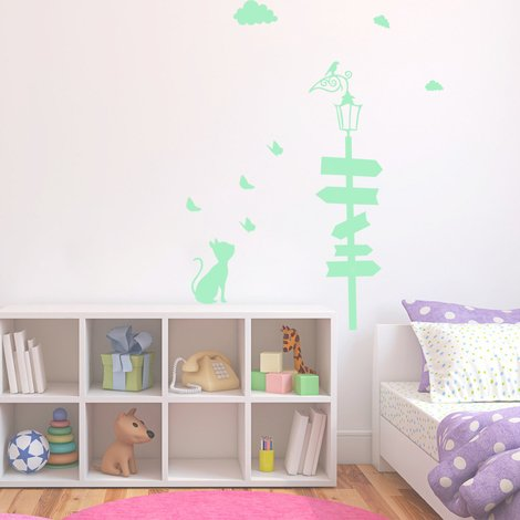 Walplus Wall Decals Cat Glow in Dark sticker