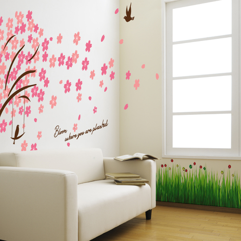 Walplus Wall Decals Colourful Ladybird Grass & WALPLUS PINK CHERRY BLOSSOM