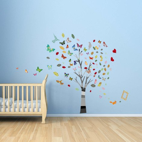 Walplus Wall Decals Colourful Photo & Butterflies