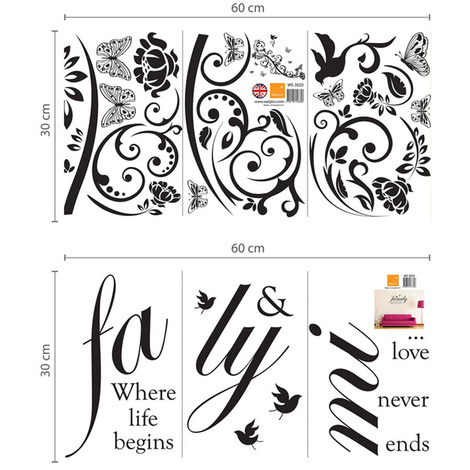Walplus Wall Decals Family Birds Quote & Small Butterfly Vine & 3D Butterflies(Black)
