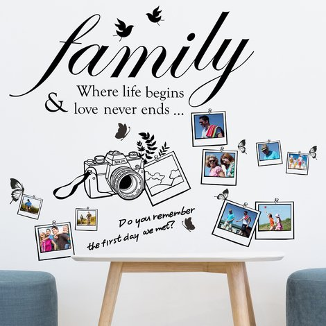 Walplus Wall Decals Family Quotes & Camera Photo Frame
