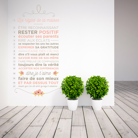 Walplus Wall Decals Floral House Rules Quote - French