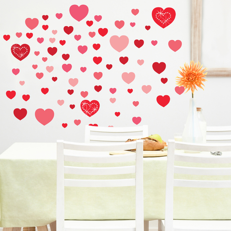 Walplus Wall Decals Hearts & Swarovski Hearts Set of 3 - White