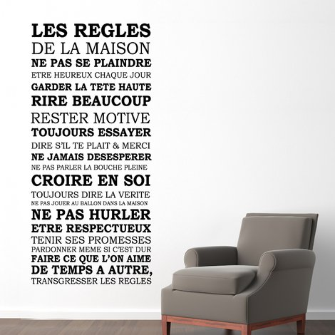 Walplus Wall Decals House Rules Quote (FR)