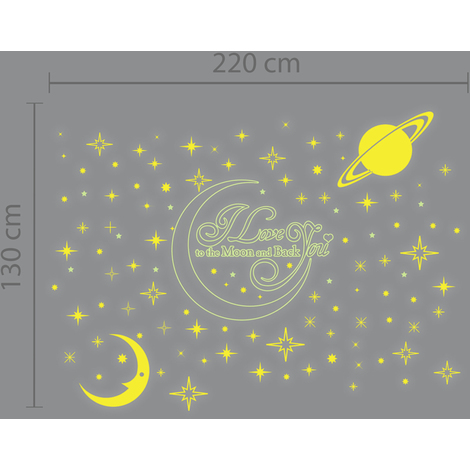 Walplus Wall Decals Love You Quote-Golden Moon & Moon & Stars Glow