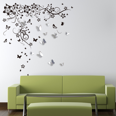 Walplus Wall Decals New Huge Butterfly Vine & Walplus 3D Mirror Butterflies