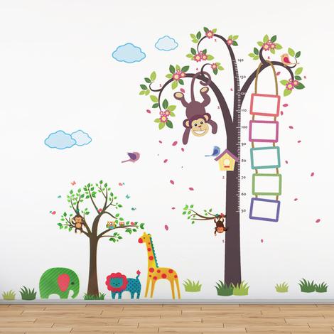 Walplus Wall Decals Nursery Monkey Height Measure & Animals Tree