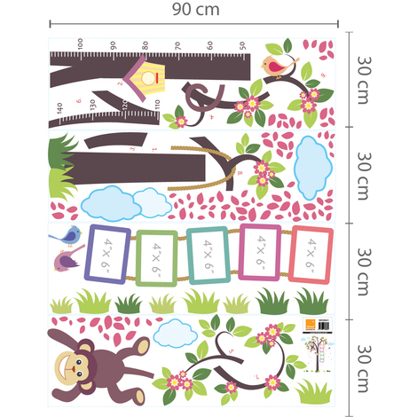 Walplus Wall Decals Nursery Monkey Height Measure & Window View of Animal Friends