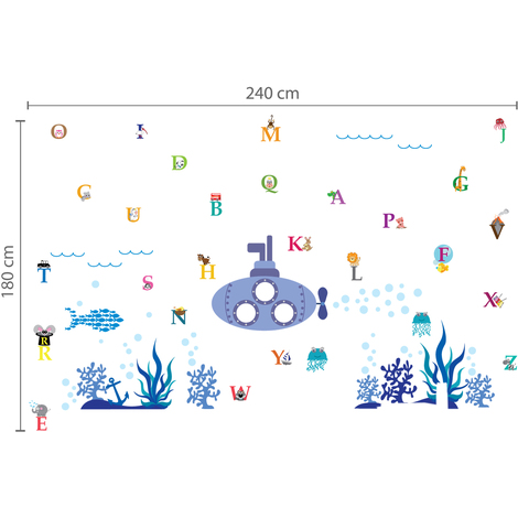 Walplus Wall Decals Ocean World & Walplus Alphabet