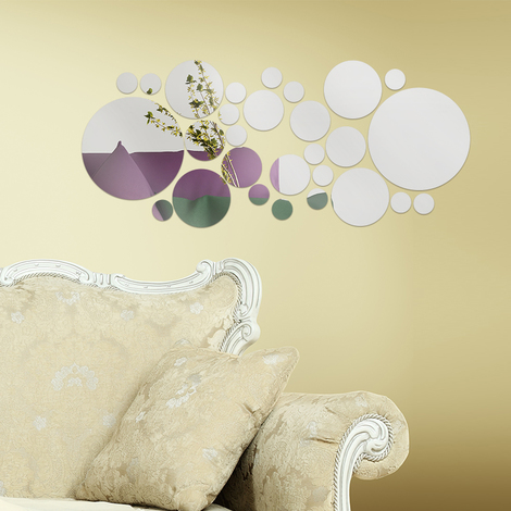 Walplus Wall Decals Silver Round Big Mirror