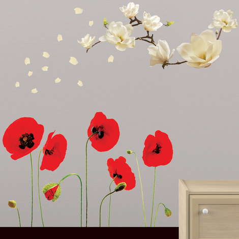 Walplus Wall Decals SMALL WHITE MAGNOLIA & RED POPPY FLOWERS