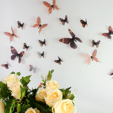 Walplus Wall Decals Streak Butterfly Brown