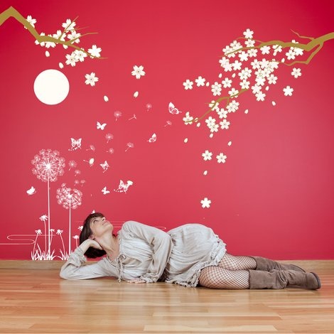 Walplus Wall Decals White Dandelion Butterflies & Cherry Blossom Under Moonlight