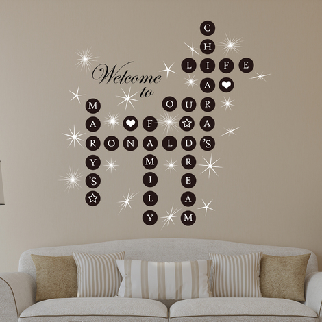 Walplus Wall Decals Word Personalise Puzzles and Swarovski crystals