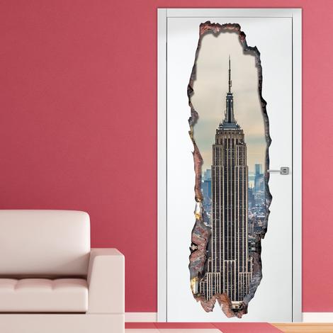 Walplus Wall Sticker 3D Empire Tower Door Mural