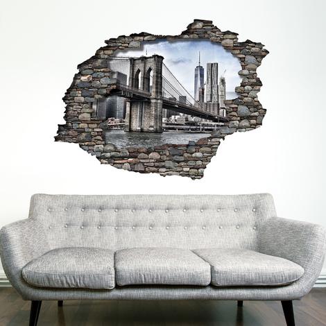 Walplus Wall Sticker 3D View with Brooklyn Bridge Art Decal