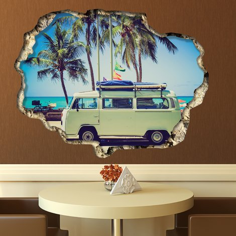 Walplus Wall Sticker 3D View with Camper Van Art Decal