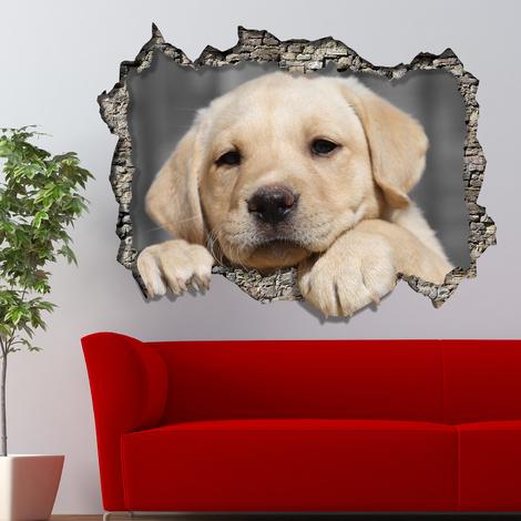 Walplus Wall Sticker 3D Window Cute Labrador Retriever View