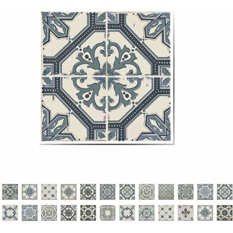 WALPLUS Wall Sticker Azulejo Vintage Blue 10x10cm 24 Sheets