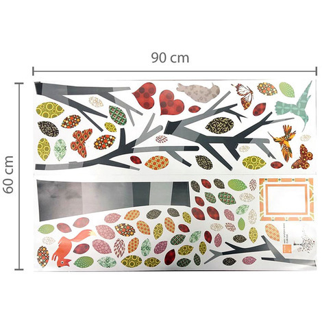 Walplus Wall Sticker Butterfly Grass Skirting with Colouful Photo Tree Art