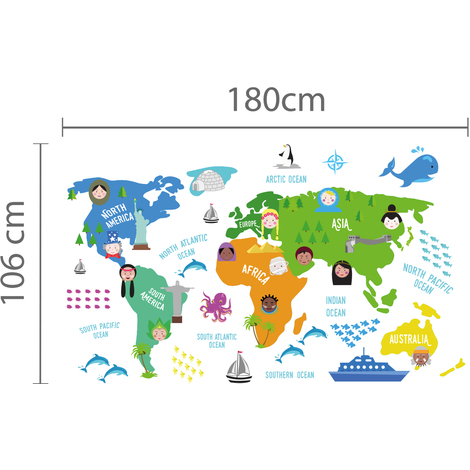 Walplus Wall Sticker Decal Colourful Nursery World Map