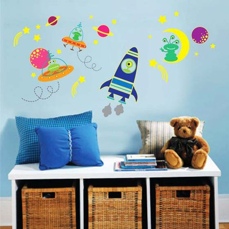 Walplus Wall Sticker Decal Glow in Dark Galaxy Glow