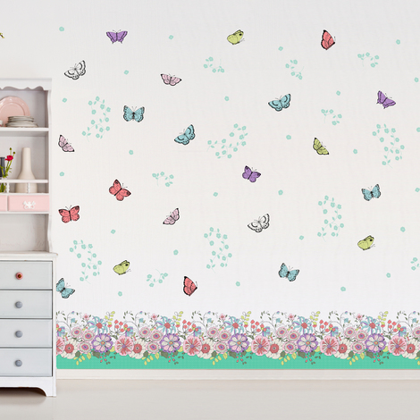 "Walplus Wall Sticker ""Flowers & Butterflies skirting"",Removables & Self-Adhesive"