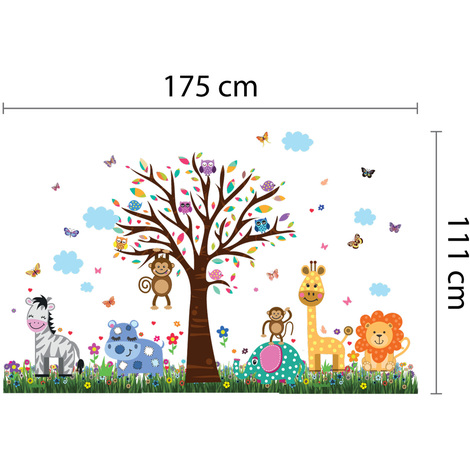 Walplus Wall Sticker Happy Animal Zoo with Grass Skirting Art Decal