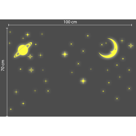 Walplus Wall Stickers Glow in Dark Stars and Moon Removable Self-Adhesive Mural Art Decals