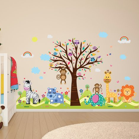 "Walplus Wall Stickers ""Happy Hills & Zoo"" ,Removables & Self-Adhesive"