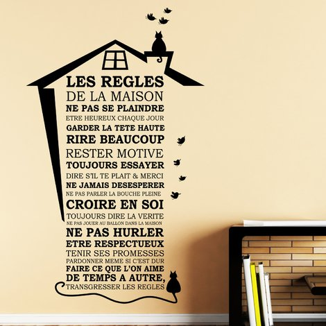 """Walplus Wall Stickers """"House Rules - French"""",Removables & Self-Adhesive"""