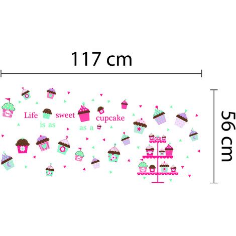 "Walplus Wall Stickers ""Life Sweet Cupcake"",Removables & Self-Adhesive"