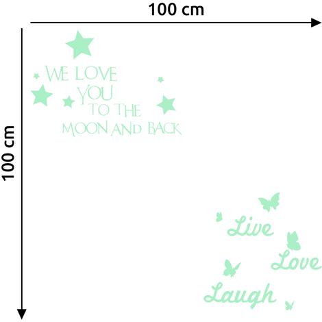 Walplus Wall Stickers Live Love Laugh & Letters Stars Glowing Sticker Murals Decals Art