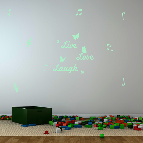 Walplus Wall Stickers Live Love Laugh & Note Glowing Sticker Murals Decals Art