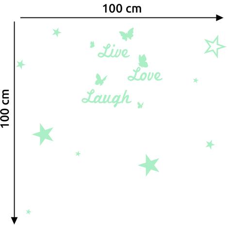 Walplus Wall Stickers Live Love Laugh & Stars Glowing Sticker Murals Decals Art