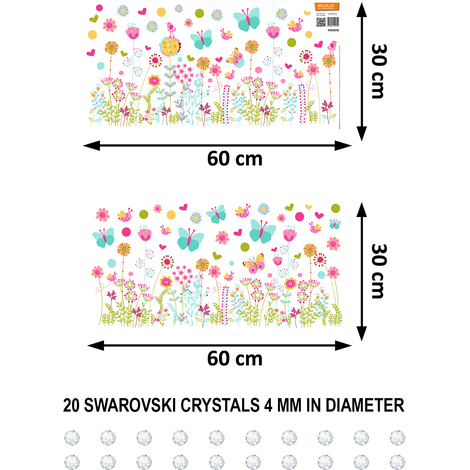 "Walplus Wall Stickers ""Swarovski & Colourful Summer Skirting"", Removables"