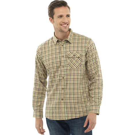 "Walter Grange Mens Tattersall Fleece Lined Long Sleeve Shirt, Brown, 2XL - Max Chest 55"",140cm,"