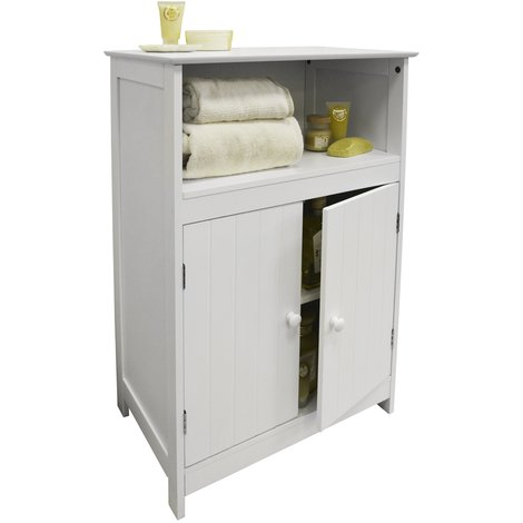 WALTHAM - Shaker Tongue and Groove Bathroom 2 Door Storage Cabinet - White