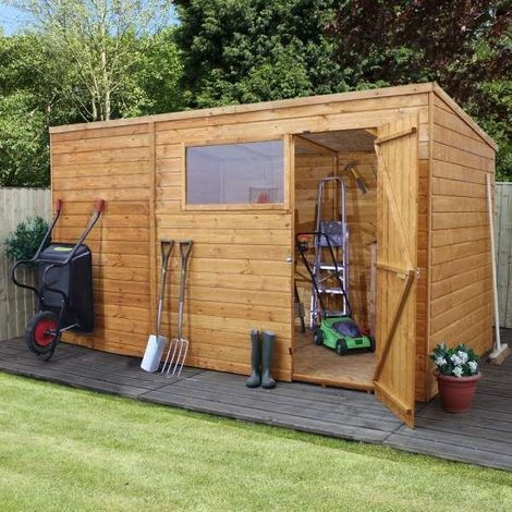 Waltons 10ft X 8ft Tongue And Groove Pent Wooden Shed