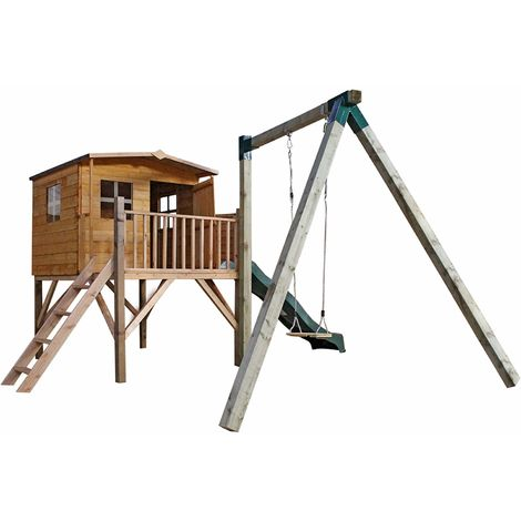 Waltons Honeypot Rose Tower Wooden Playhouse with Activity Centre
