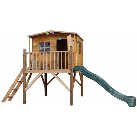 Waltons Honeypot Rose Tower Wooden Playhouse with Slide