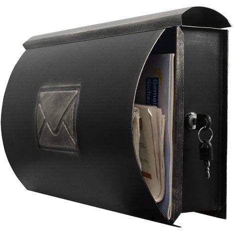 Wand Briefkasten Wandbriefkasten Postkasten Mailbox mit Zeitungsrolle Zeitungsfach Zeitungsbox / Silber