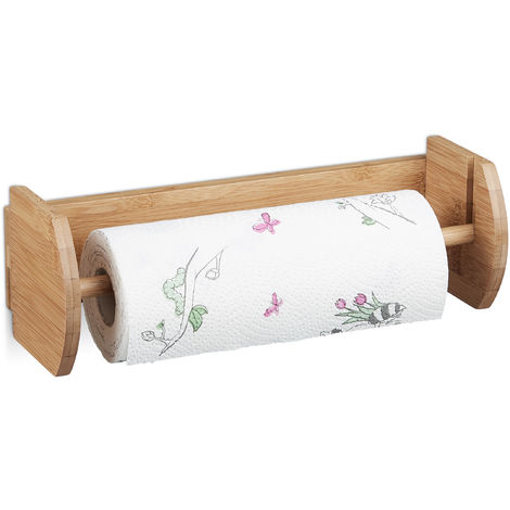 Wand Küchenrollenhalter Bambus, Papierrollenhalter zur Wandmontage, Halter für Küchenrollen, natur