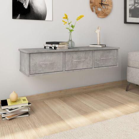 Wand-Schubladenregal Betongrau 90×26×18,5 cm Spanplatte