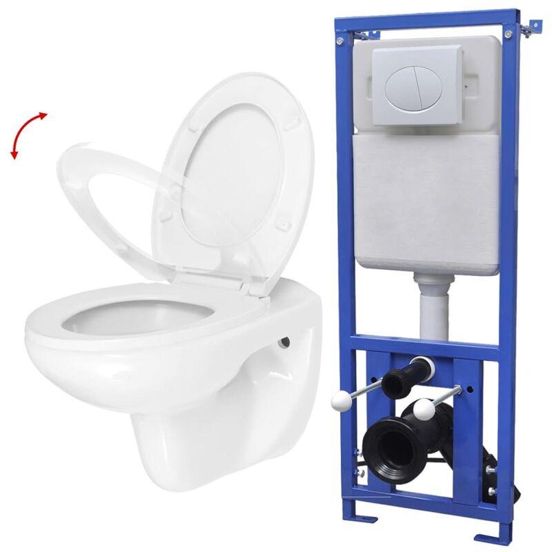 Häufig Wand-WC mit Spülkasten und Absenkautomatik-Sitz Keramik Weiß - ZX23