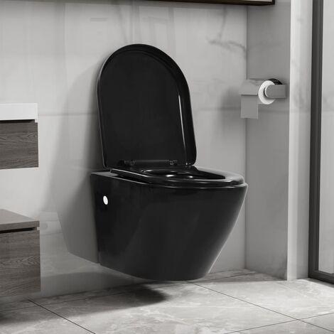 Wand-WC ohne Spülrand Keramik Schwarz