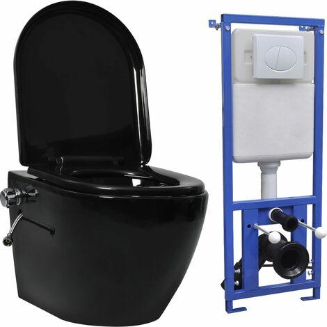 Wand-WC ohne Spülrand mit Einbau-Spülkasten Keramik Schwarz